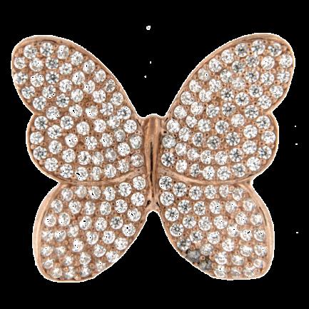 Inserto Farfalla Argento Bracciale Pelle € 55,00